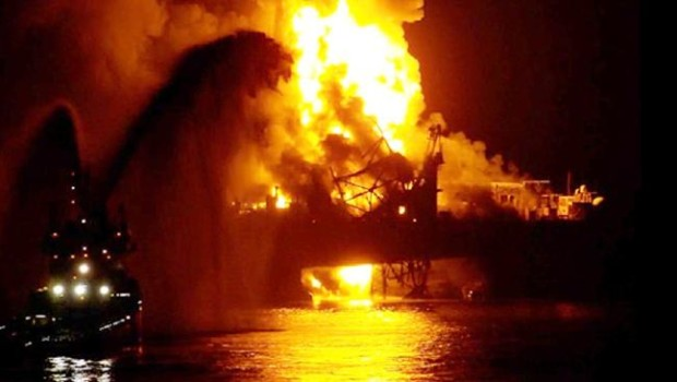 The oil rig fire in the Caspian Sea  Picture Archie Goodwin
