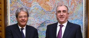 talian Foreign Minister Paolo Gentiloni and his Azerbaijani counterpart Elmar Memmedyarov are seen during their meeting in Baku
