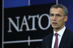 NATO Secretary General Jens Stoltenberg speaks at the Alliance's headquarters